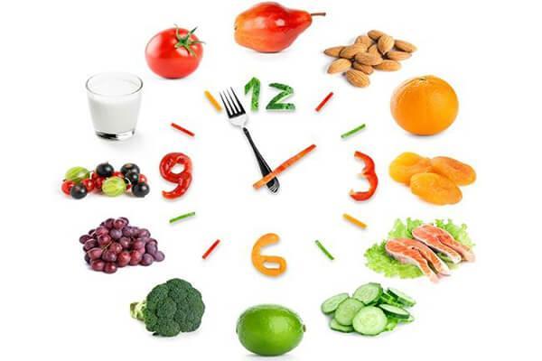 tập luyện cho trẻ thói quen ăn đúng giờ để cơ thể tạo thành thói quen hấp thụ dinh dưỡng