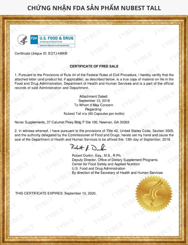 Chứng nhận FDA sản phẩm Nubest Tall