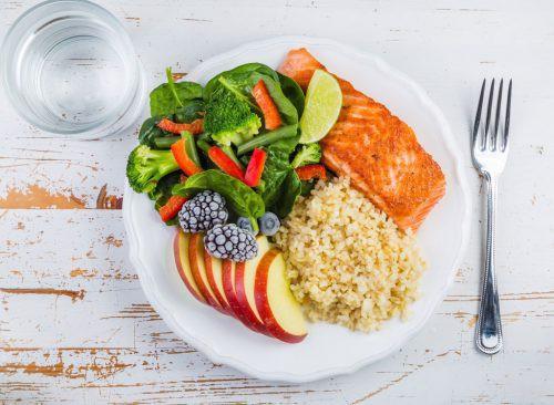 khẩu phần ăn bao gồm rau cả quả , protein và trái cây