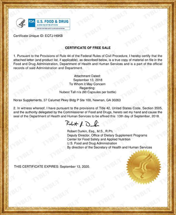 Chứng nhận FDA Hoa Kỳ của TPBVSK hỗ trợ tăng chiều cao NuBest Tall