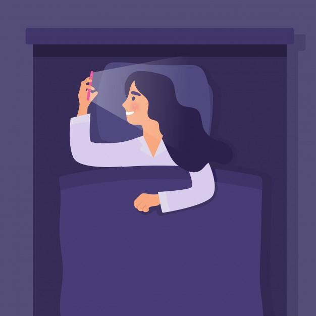 thói quen dùng điện thoại trước khi đi ngủ