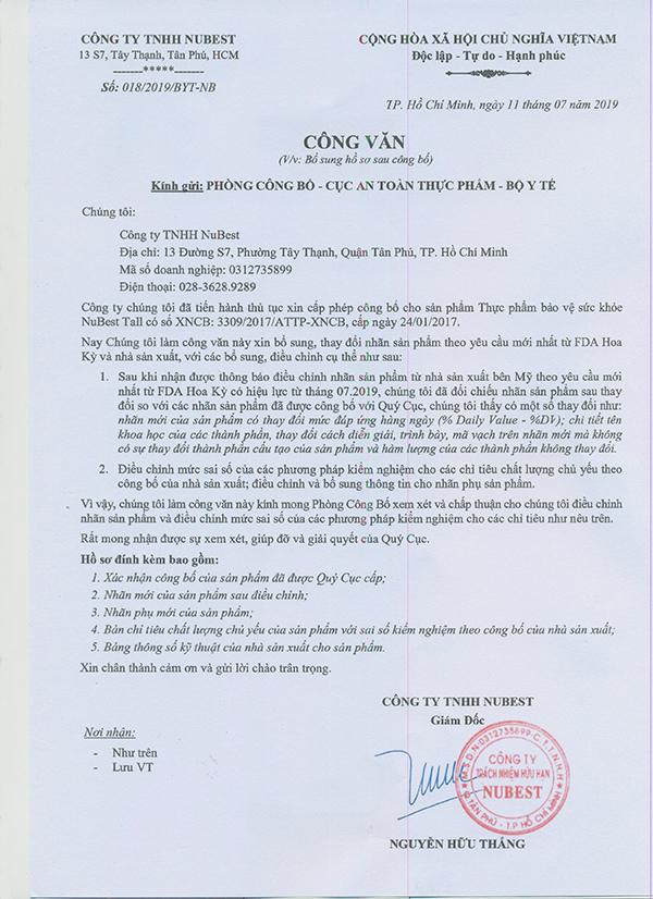 Công văn xin thay đổi nhãn chai sản phẩm NuBest Tall của NuBest Việt Nam