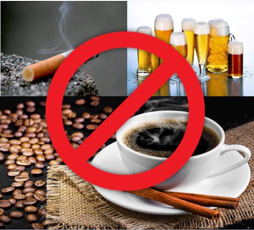 tránh thuốc lá và các chất kích thích