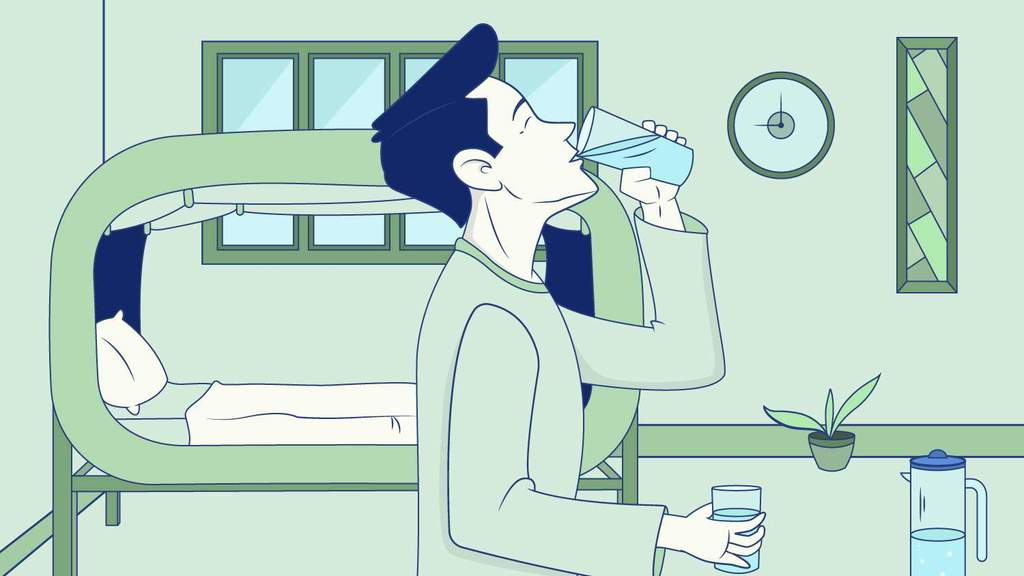 uống một ly nước trước khi ngủ